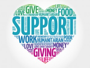 45100743 - support word cloud, heart concept