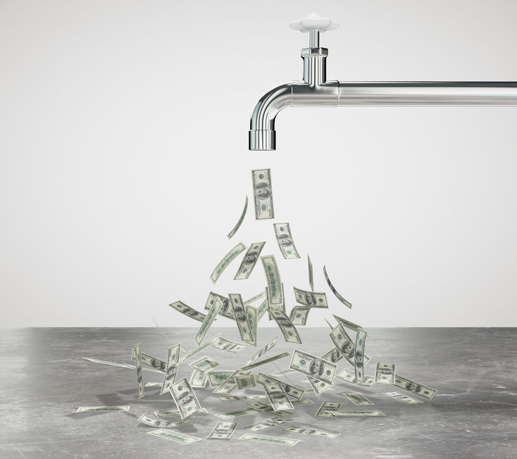 49255405 - flow of dollars from the faucet concept